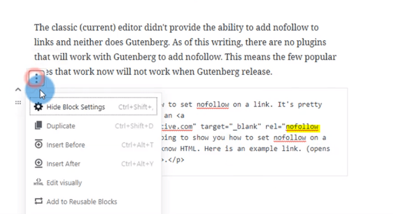how to add no-follow link in gutenberg