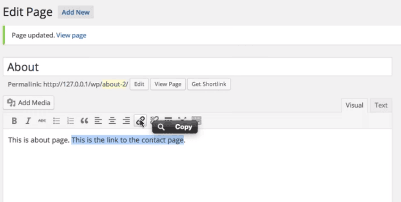 how to get page link in WordPress