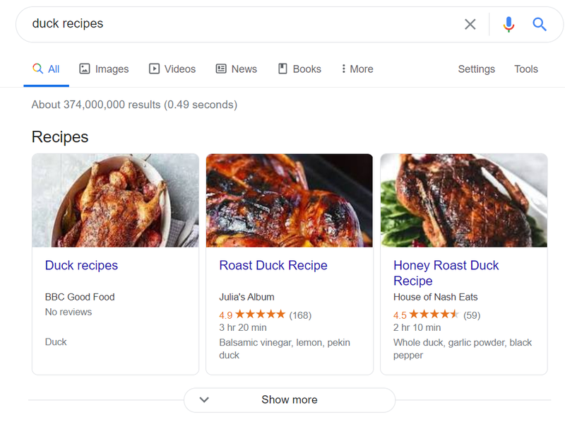 duck recipes on google search results