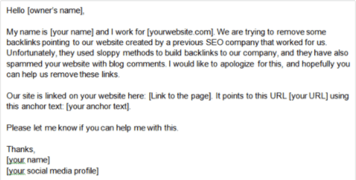 email draft for manually removing backlinks
