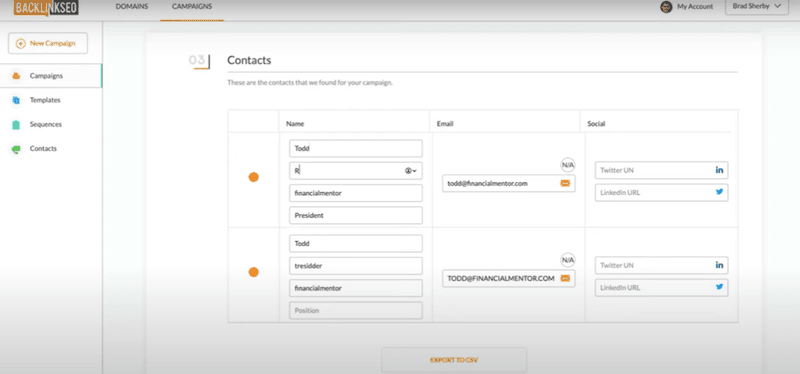 contacts to run a mention campaign