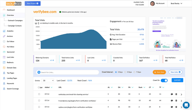 BacklinkSEO's link analysis features