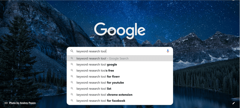 Search for keywords on Google Suggestions