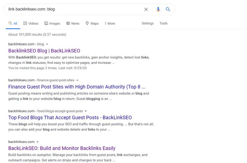 "Google search results for ""link backlinkseo.com: blog"""
