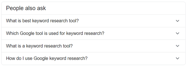 """Search for keywords on the """"People also ask"""" sections"""