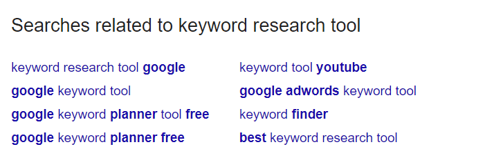 """Search for keywords on the """"Related Searches"""" sections"""