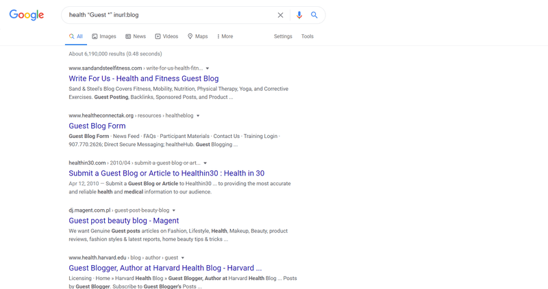 """Google search results for 'health """"Guest *"""" inurl:blog'"""