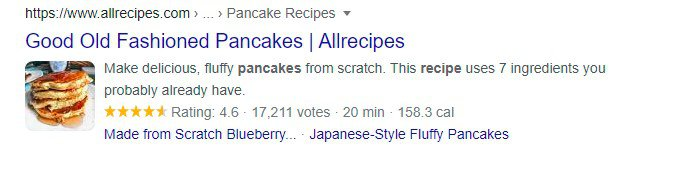 google search snippet structured data