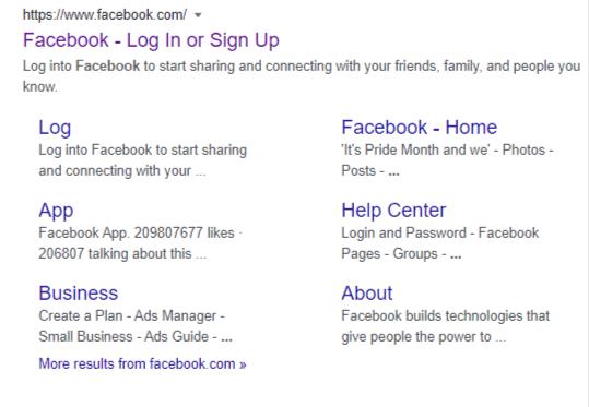 google site links for facebook