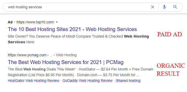 serp paid and organic